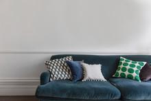 Comfortable Blue Sofa In A Aga...