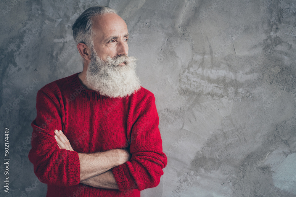 Fototapety, obrazy: Photo of nice aged guy holding hands crossed looking empty space minded wear red knitted pullover jumper cool hipster santa outfit isolated grey color wall background