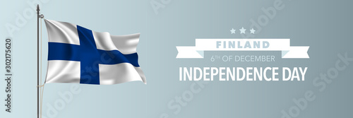 Finland happy independence day greeting card, banner vector illustration