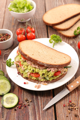 sandwich with avocado, tuna, cucumber and tomato Wallpaper Mural