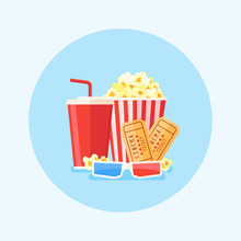 Movie Poster Template With Popcorn Bucket, Soda, Tickets And 3D Glasses. Round Cinema Design In Flat Style. Vector Illustration.