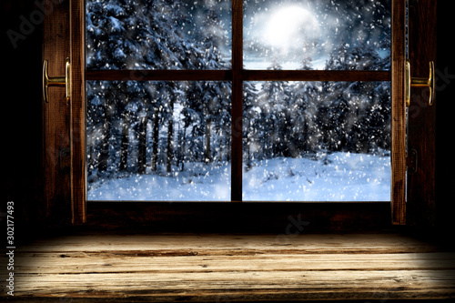 Poster Fleur Winter window background of free space and chritmas time.