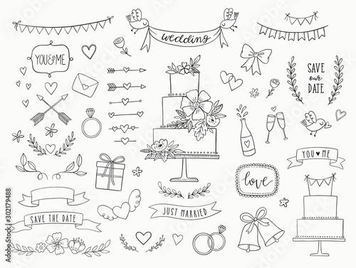 Fototapeta Hand drawn doodle wedding collection