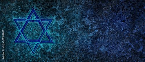 Fototapeta Jewish Holiday. Star of David with bleu background. Jewish holiday Hanukkah. Illustration. obraz