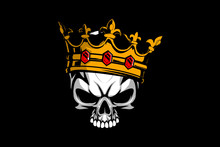 King Skull Head With Crown Vector