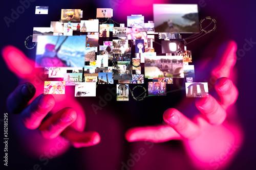 Fotografiet Internet broadband and multimedia streaming entertainment