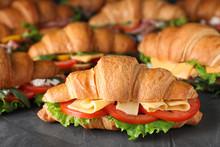 Tasty Croissant Sandwiches On Grey Table, Closeup