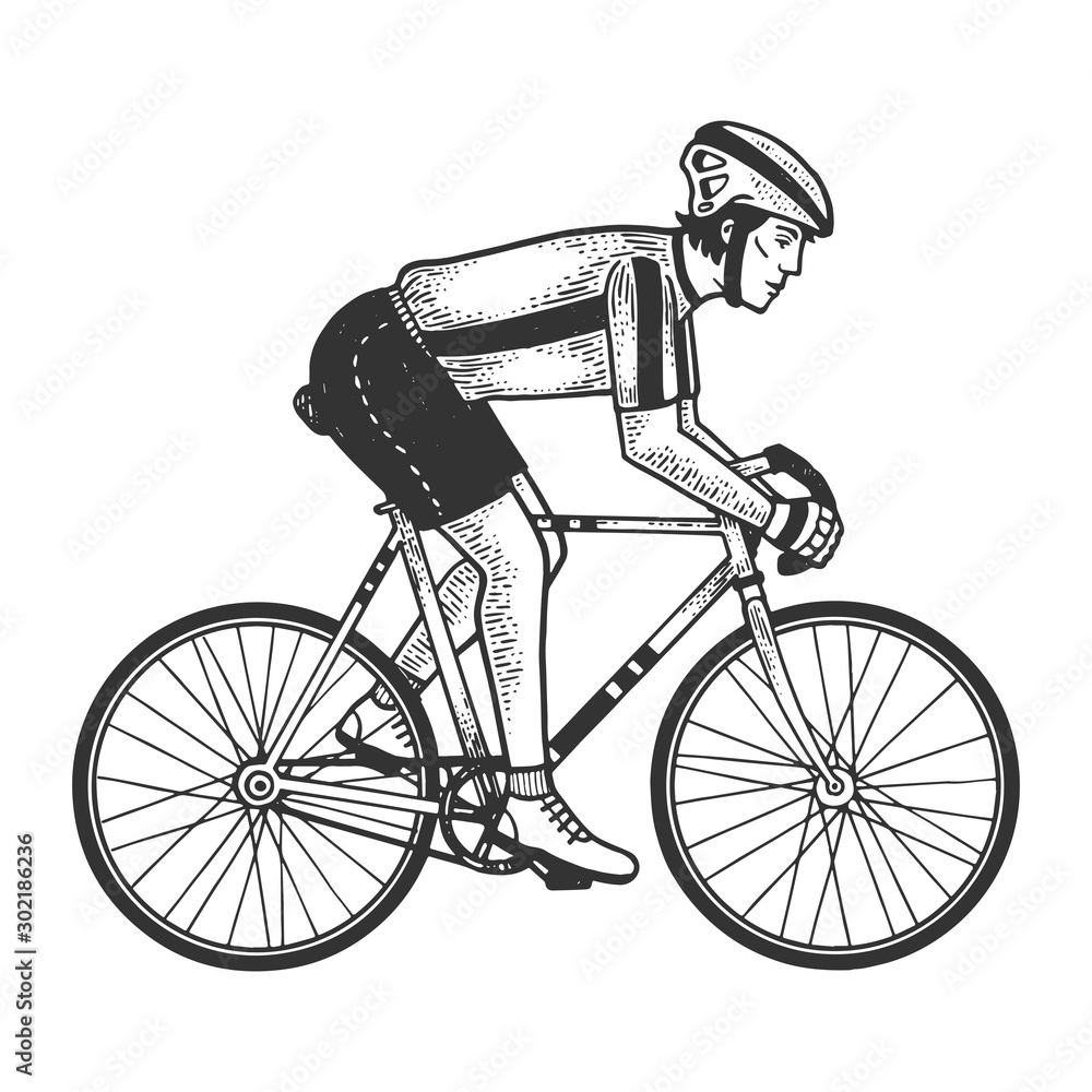 Fototapety, obrazy: Road bicycle racer sketch engraving vector illustration. T-shirt apparel print design. Scratch board imitation. Black and white hand drawn image.