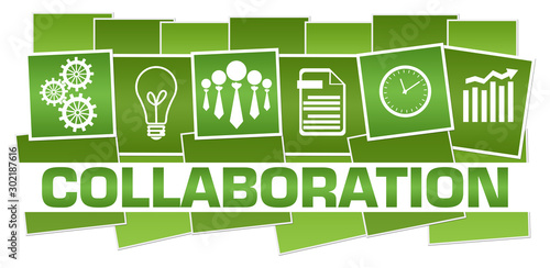 Collaboration Business Symbols Green Horizontal Stripes Wallpaper Mural