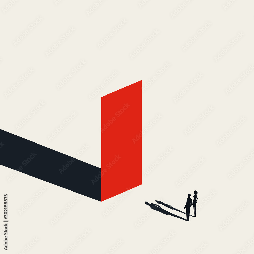 Fototapeta Business obstacle vector concept with businessman and woman looking at wall. Symbol of finding solutions.