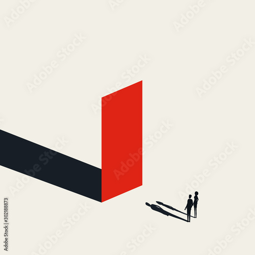 Photo Business obstacle vector concept with businessman and woman looking at wall
