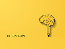 Business Creativity And Brainstorming Vector Concept With Brain And Pencil Symbol. Creative Process Symbol.