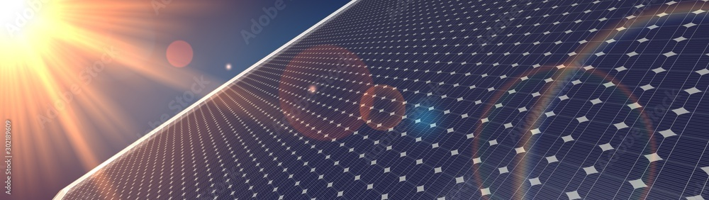 Fototapety, obrazy: photovoltaic renewable background solar panel 3d