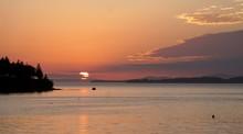 Breathtaking Shot Of The Sunset Across Penobscot Bay Viewed From Northwest Harbor Deer Isle, Maine