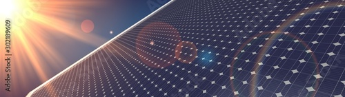 Fotografiet photovoltaic renewable background solar panel 3d