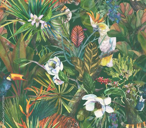 z-tropikalnymi-zwierzetami-wsrod-egzotycznych-lisci-utrzymana-w-stylu-retro