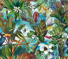 Tropical Pattern With Tiger And Tropical Flowers. Seamless Pattern With Orchids And Wild Cat.