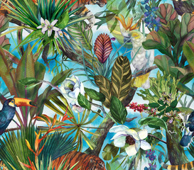 Tropical pattern with tiger and tropical flowers. Seamless pattern with orchi...