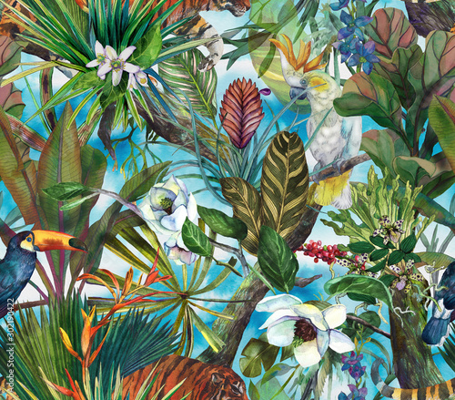 tropical-pattern-with-tiger-and-tropical-flowers-seamless-pattern-with-orchids-and-wild-cat