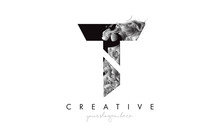 Letter T Logo Design Icon With Artistic Grunge Texture In Black And White