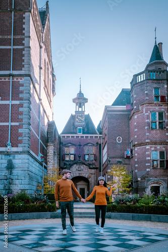 Photo  Rijksmuseum garden Amsterdam on a sunny morning during autumn,