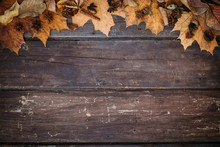 Autumn Leaves On Wooden Wallpaper With Copy Space. Thanksgiving Background