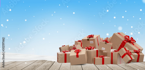 Obraz christmas gifts wrapped delivery parcels 3d-illustration - fototapety do salonu
