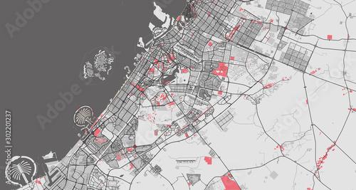 Fototapeta Detailed map of Dubai, UAE