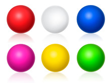 Collection Of Colorful Glossy Spheres Isolated On White. Vector Illustration For Your Design
