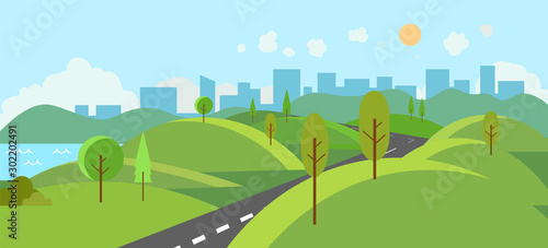 Deurstickers Pistache Public park with river and road to city.Vector illustration.Cartoon nature scene with hills and trees.Nature landscape with urban with sky background