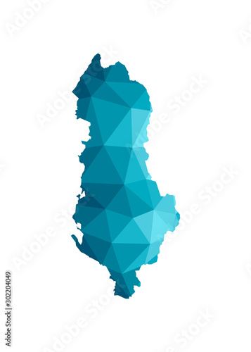 Photo Vector isolated illustration icon with simplified blue silhouette of Albania map