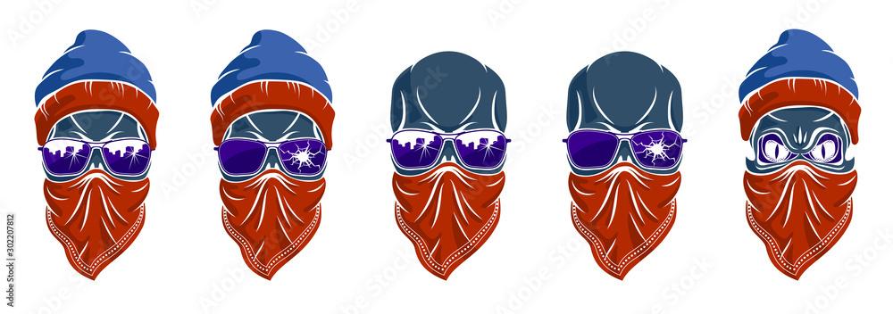 Fototapety, obrazy: Gangster skull vector logos set, icons or tattoos, urban stylish aggressive criminal scull.