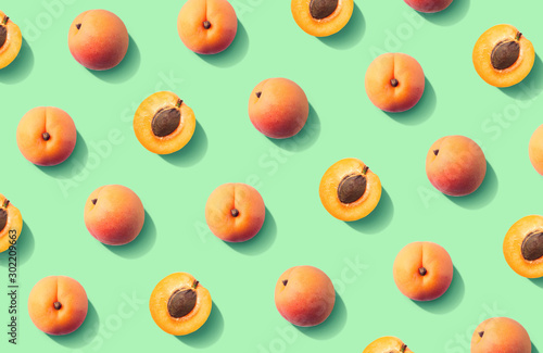 Colorful fruit pattern of fresh apricots - 302209663