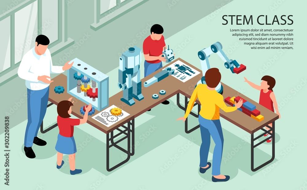 Fototapety, obrazy: STEM Class Isometric Background