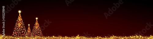 Obraz Three Christmas trees isolated on red sky background. - fototapety do salonu