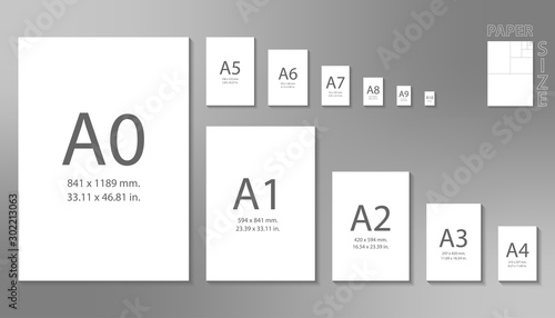 Ταπετσαρία τοιχογραφία Paper sizes A0 to A10 format isolated on grey background.