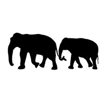 Black Image Outline Two Elephant Asia Walking And Trunk Touch The Tail, Graphics Design, Vector Illustration Isolated On Black Background