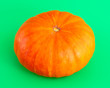 canvas print picture - Orange pumpkin on a green background