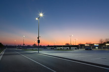 Modern Parking Area At Night W...