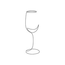 Continuous One Line Wine Glass Art. Vector