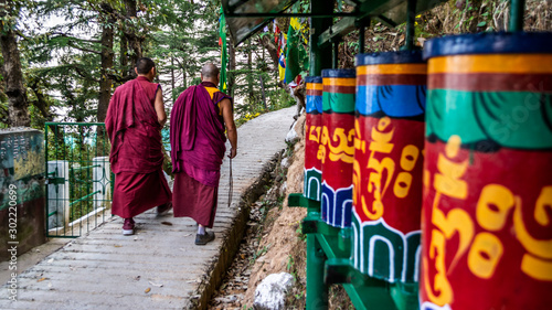 Fotografia Tibetan Monks walking among praying wheels, Dharamsala, India