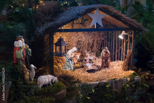 Fotografie, Obraz Christmas creche with Joseph Mary and Jesus