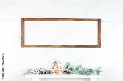 Fotografía 8 x 24 Christmas Frame Mockup on a Light Background, Horizontal Wooden Sign Mock