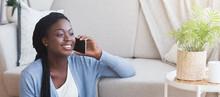 Smiling Black Girl Talking On ...