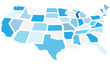 United States map, fragmented states. Vector illustration