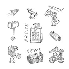 Newspaper Vector Icons. Newspapers Set: Stacks And Rolls Of Newspapers, Postman, Paperboys, Newspaper Vending Machine, Mailbox - Hand Drawn Doodles Illustration