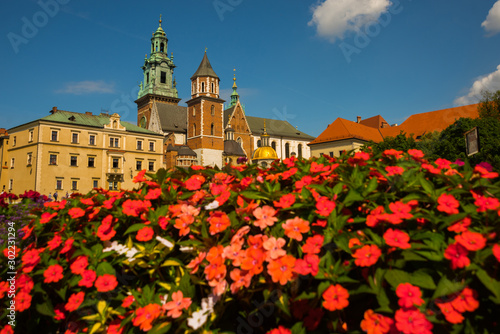 Canvas Prints Krakow Beautiful sightseeing with Wawel Royal Castle and colorful flowers in Krakow, Poland