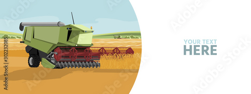 Aufkleber - Autonomous harvester on a smart farm. Vector banner template