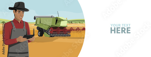 Aufkleber - Farmer controls an autonomous harvester on a smart farm. Vector banner template