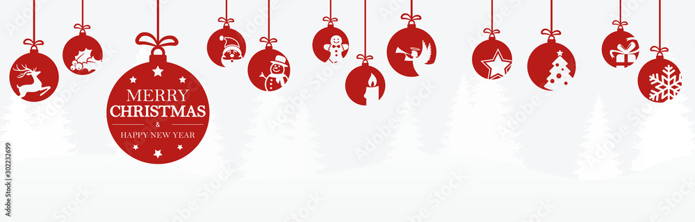 Fototapety, obrazy: hanging baubles with christmas icons and greetings